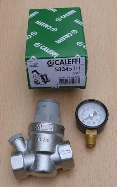 "Caleffi HT Druckminderer 3/4"" + Manometer (533451H) radial 0-10bar (8944#"