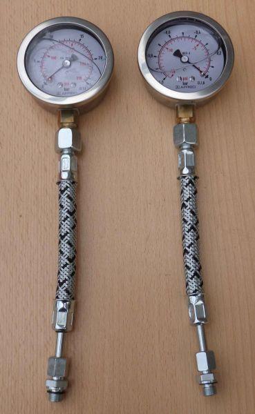 Prüfmanometer + Vakuumeter Edelstahlgehäuse Glyzerin flex.Schlauch (10768#