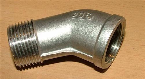 """Edelstahl-Fitting Winkel 45° (V2A) 3/8"""" IG / AG (5077#"""