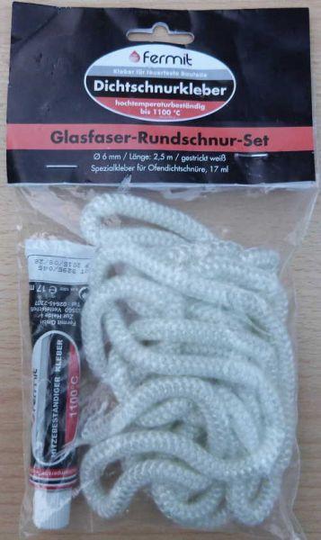 Glasfaser - Rundschnur -Set / Ø 6 mm x 2,5 m incl. Spezialkleber (7843#