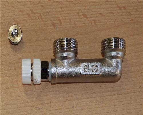 Montagebrücke für Hahnblock 50mm für Heizkörper + Entlüftungsventil weiß (9943#
