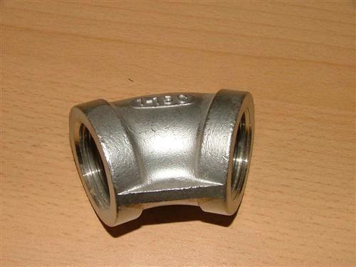 """Edelstahl-Fitting Winkel 45° (V2A) 2"""" IG (4114#"""
